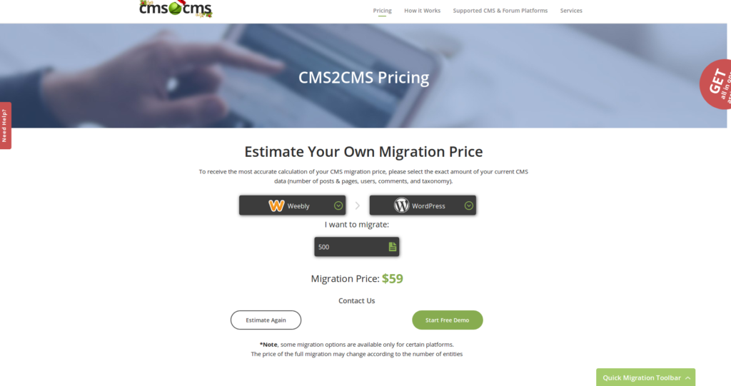 Weebly to WordPress- cms2cms pricing
