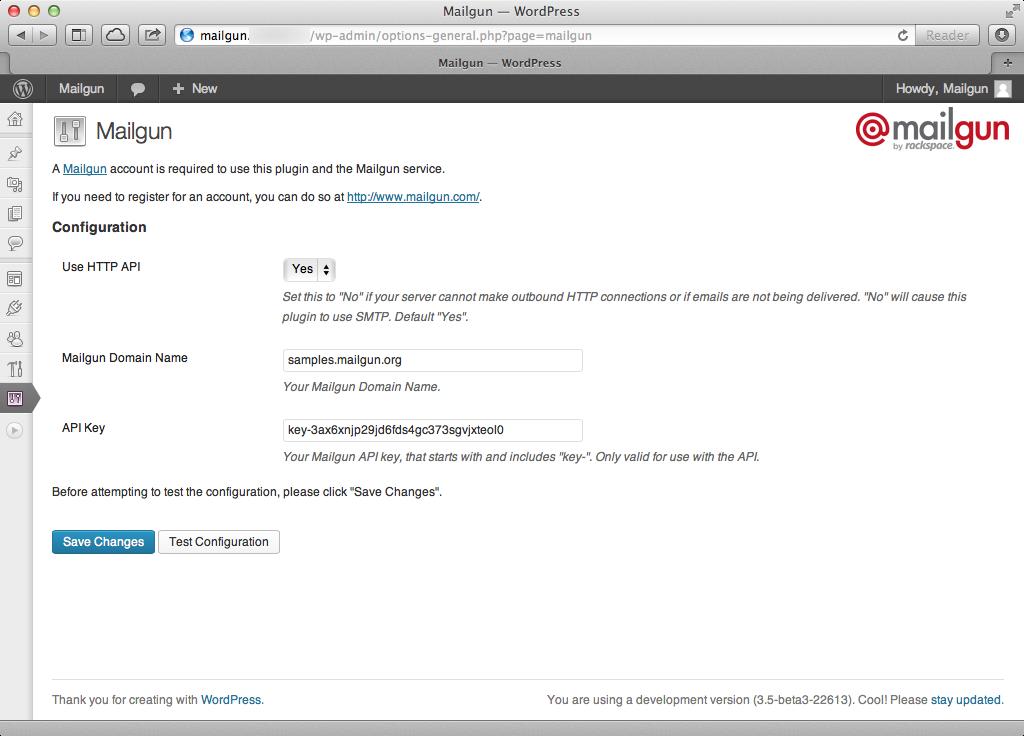 Free SMTP server Mailgun