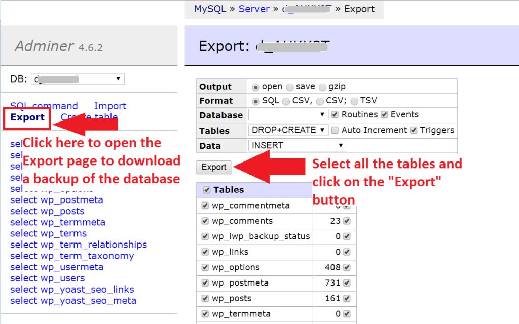 Adminer Dashboard export database
