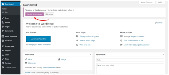 Wordpress WooCommerce Dashboard