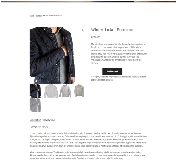 WooCommerce product example