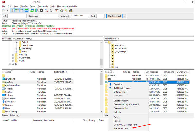 Setting File Permission using FTP Tool like Filezilla