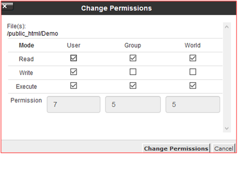 Setting File Permission using File Manager in Cpanel