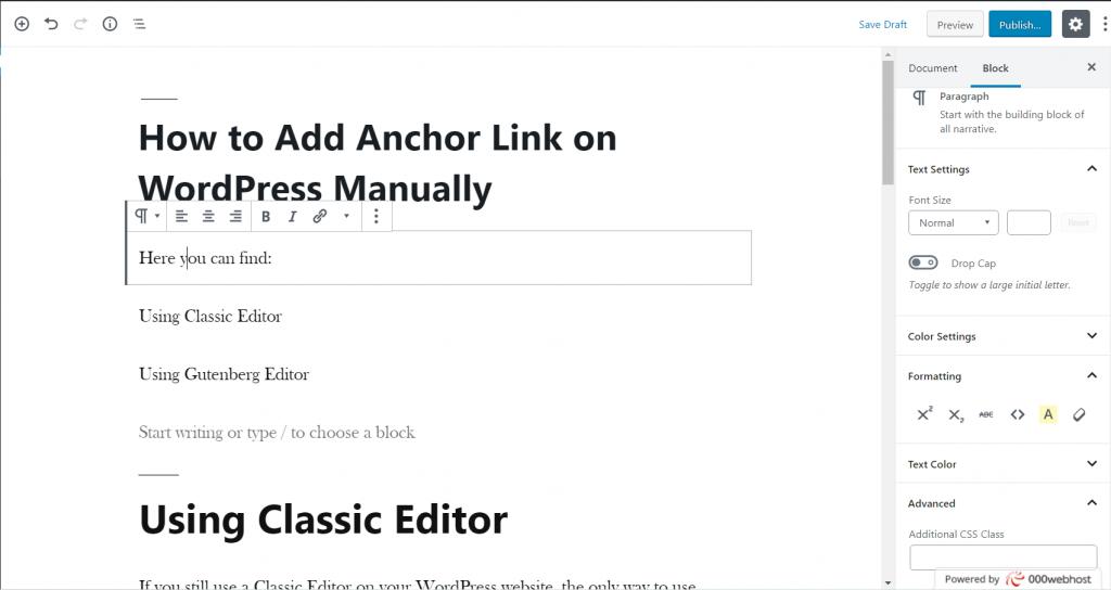 Classic editor dashboard
