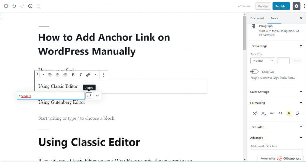 Add Anchor Link on WordPress Manually