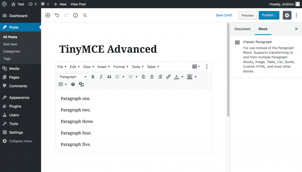TinyMCE Advanced dashboard