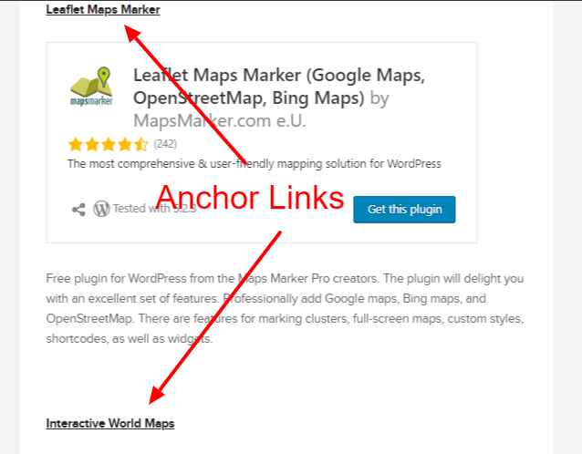 WordPress anchor links Example