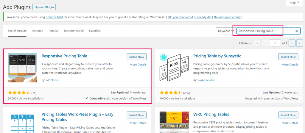 Responsive pricing table plugin installation.