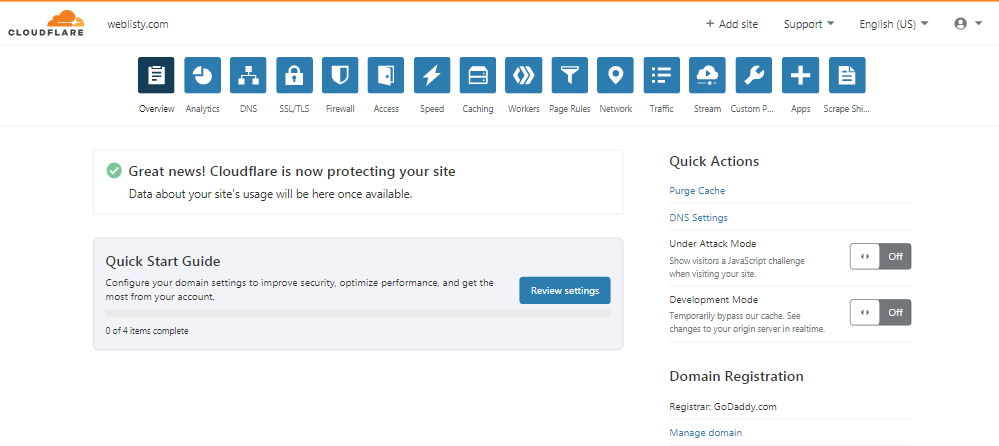 cloudflare setup completed Best WordPress Cloudflare plugin settings for faster sites
