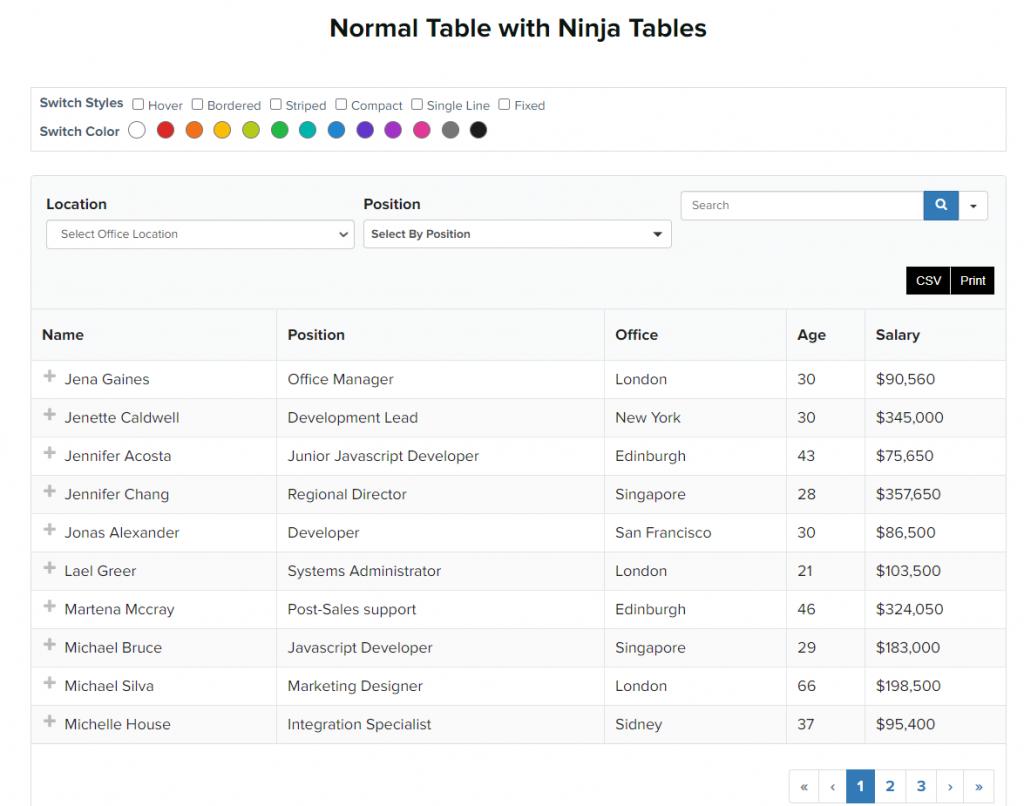 ninja table WordPress table plugin