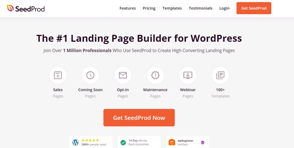 seedprod WordPress landing page plugin