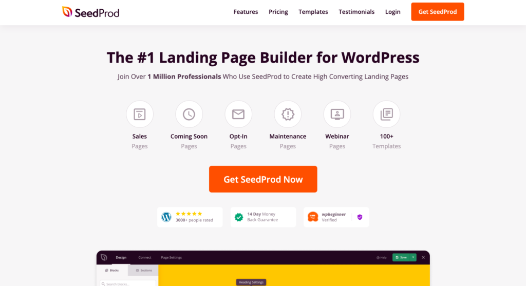 seedprod homepage 13 High Converting WordPress Landing Page Plugins Compared 2021