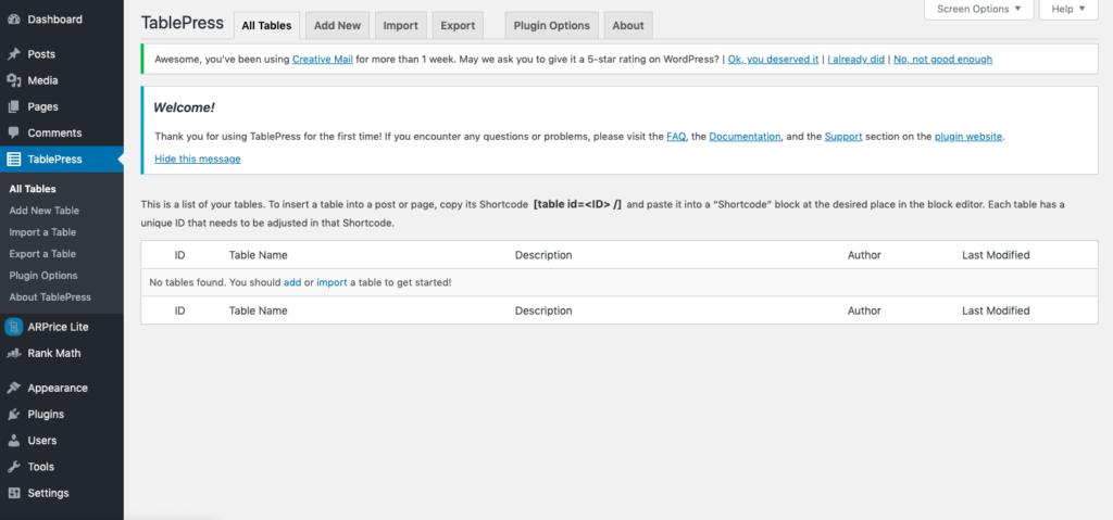 tablepress plugin settings