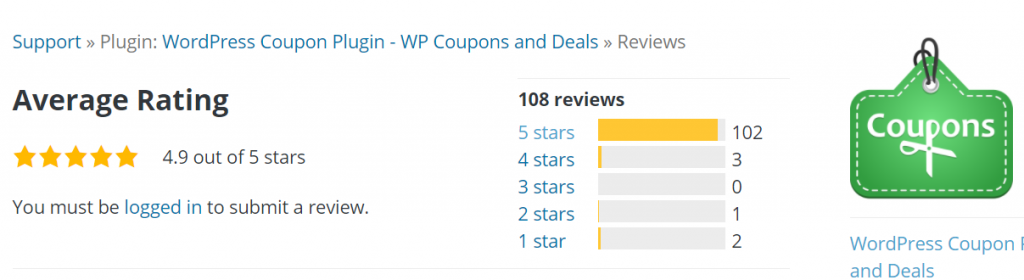 rating 1 Best 12 WordPress Coupon Plugins For Your Website 2021