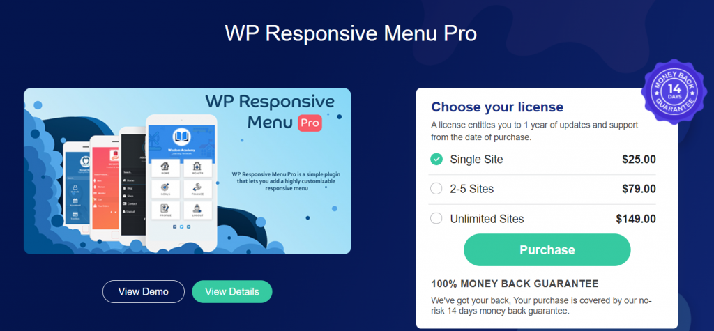 wp responsive menu pro pricing