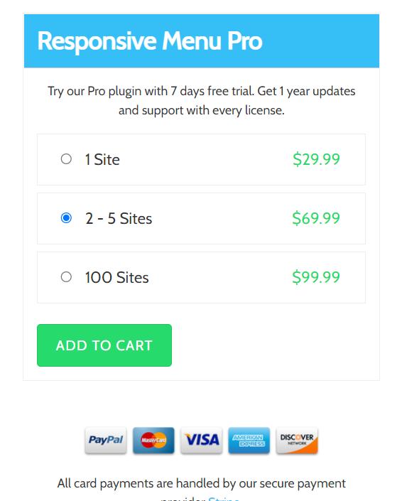 responsive menu pro pricing