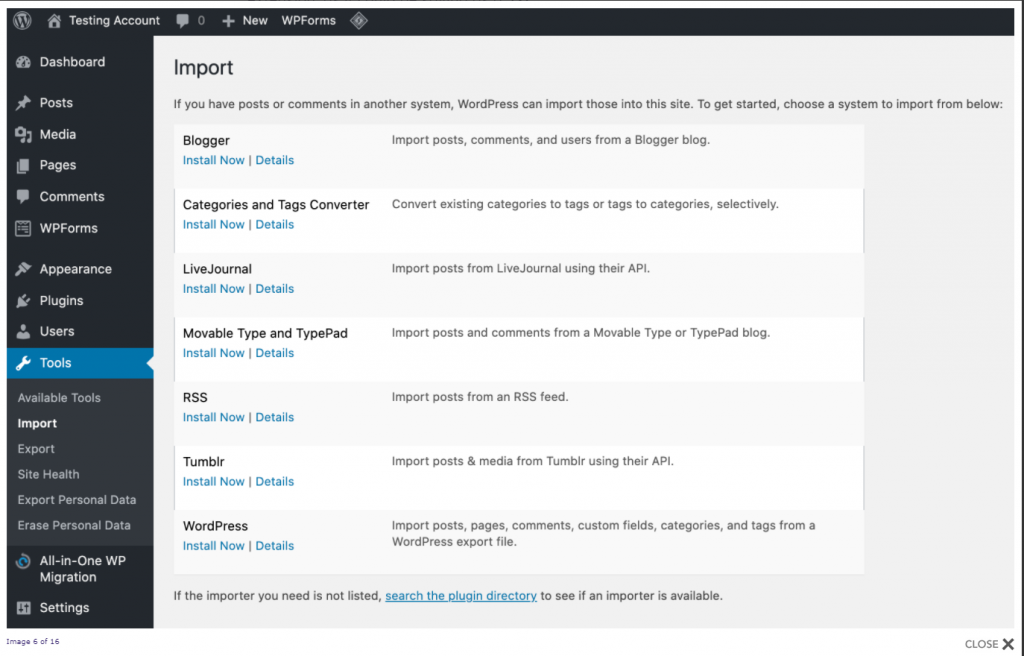 Wix to WordPress using RSS Feed