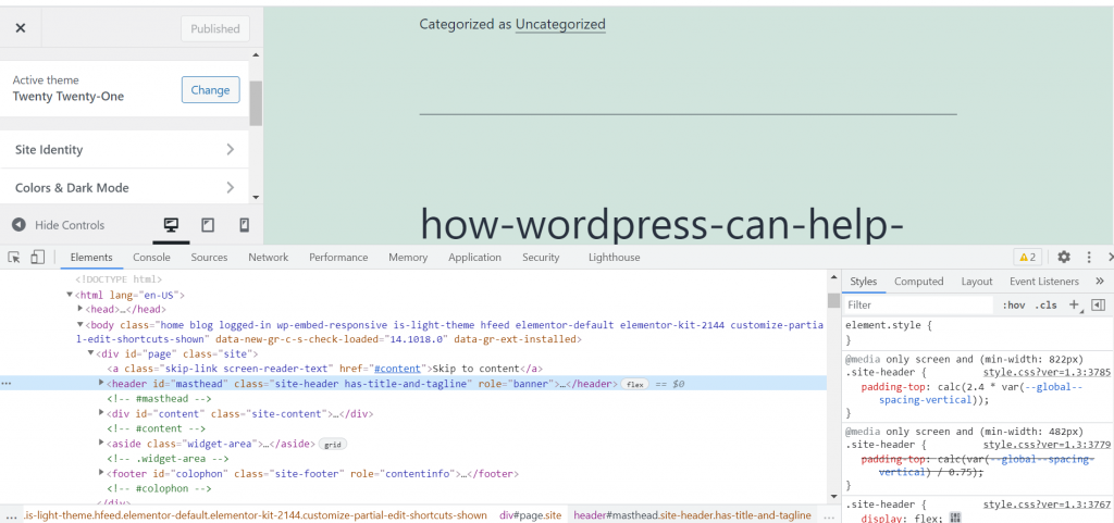 Screenshot 1 1 How To Customize WordPress Theme 2021