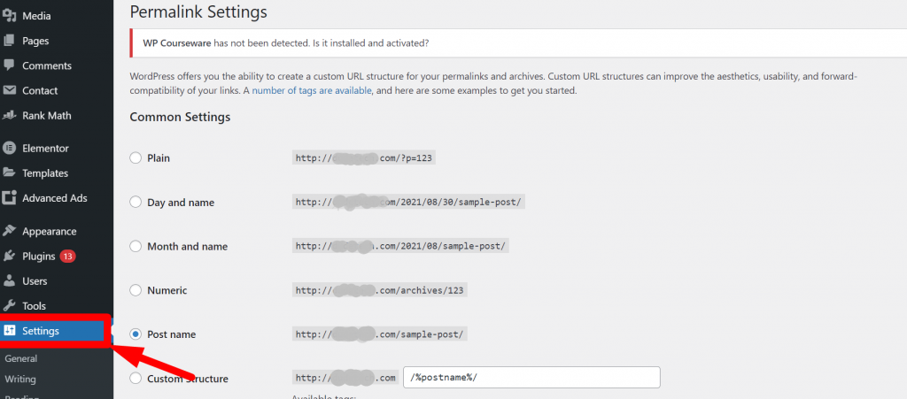 WordPress Permalink Settings page