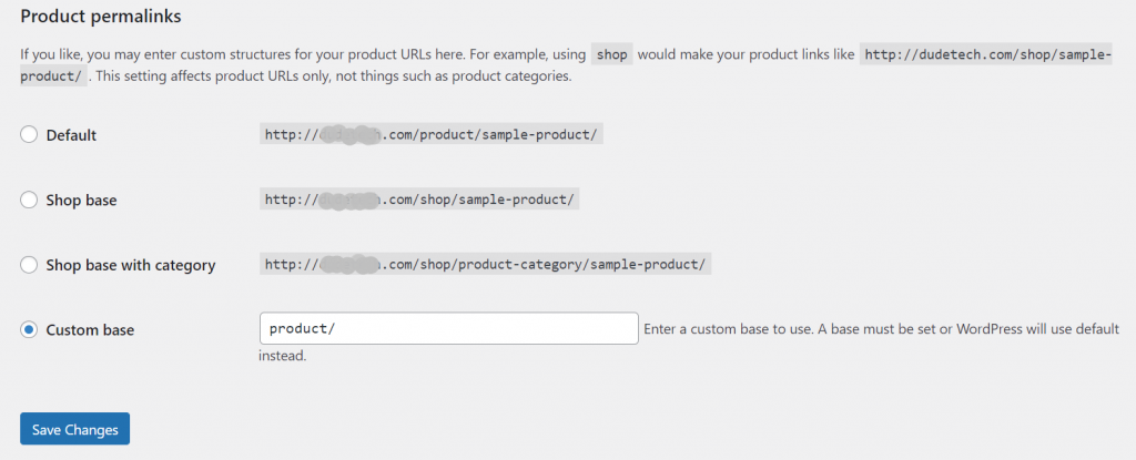 Product Permalink Settings