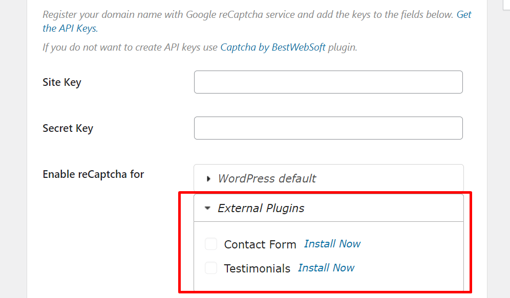 Enabling google Captcha for contact forms
