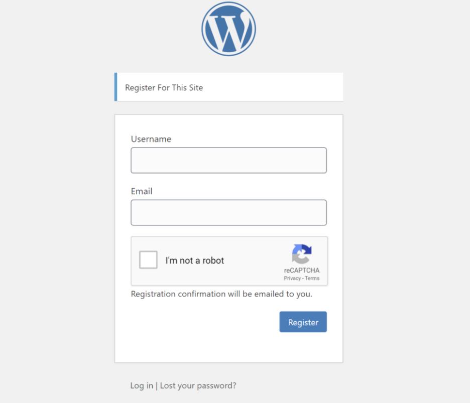 Captcha Recaptcha to stop WordPress Registration Spam