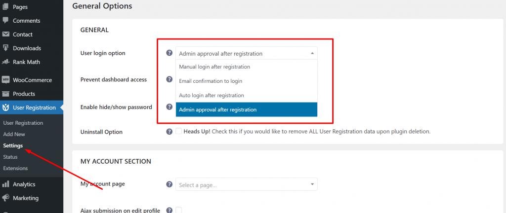 Free User registration Plugin