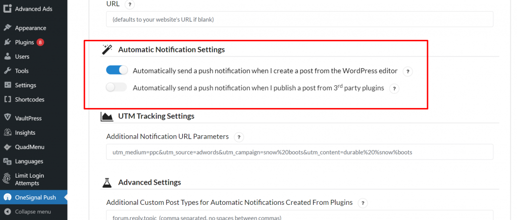 Disable automatic Push Notifications
