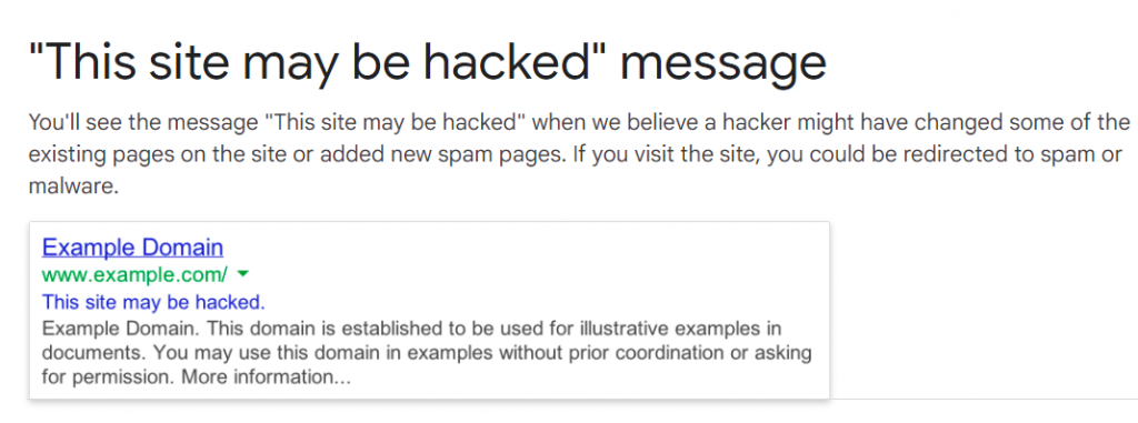 WordPress hacked Warning message from Search Engines