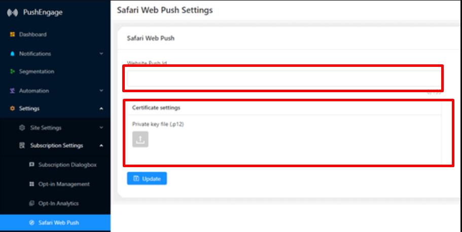 Safari Overlay push Settings