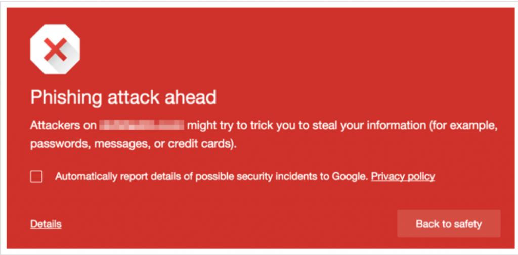 Browser warning message of WordPress hacked