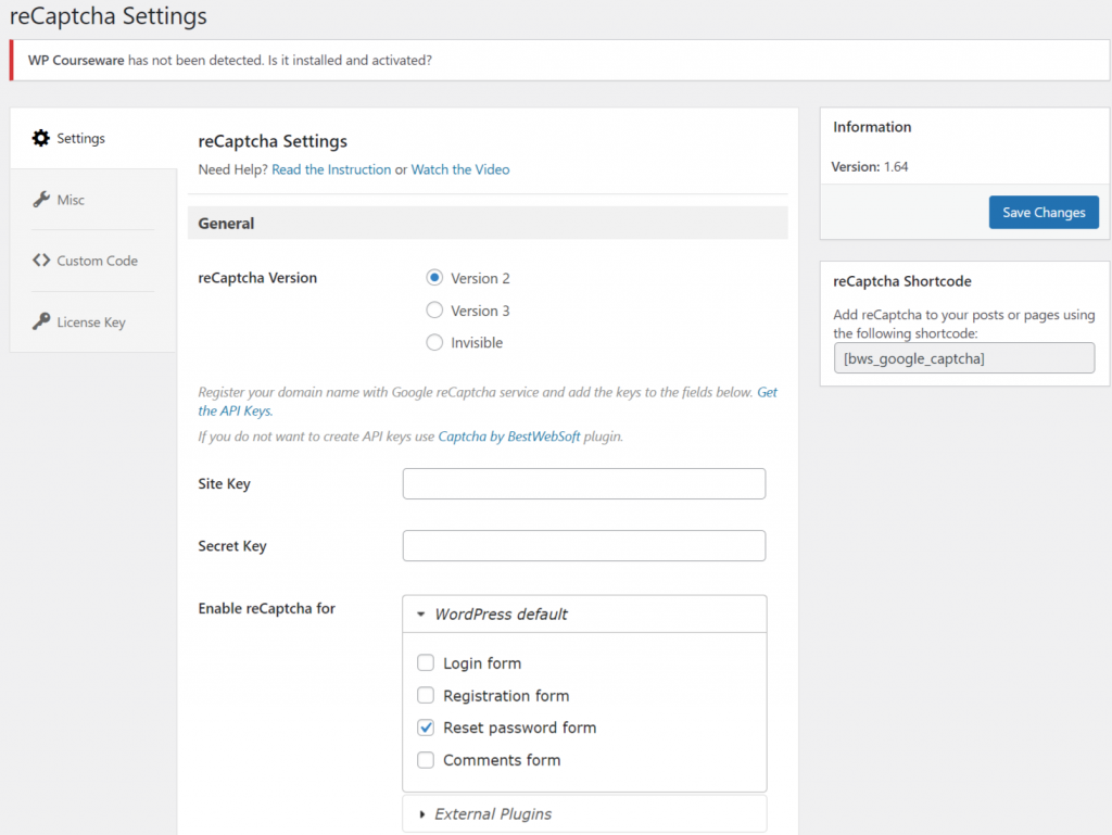 Adding google reCaptcha keys to the Google Captcha Plugin