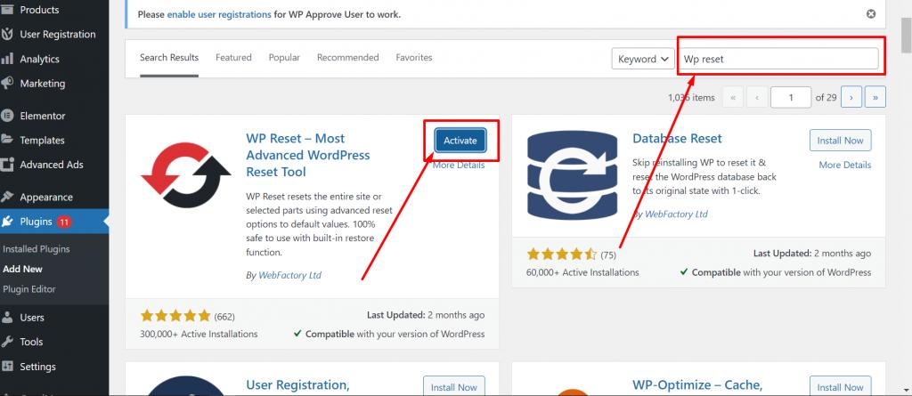 Reset WordPress using WP reset